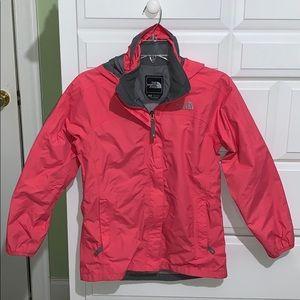 Girl's NORTH FACE Pink/Salmon Rain Coat L 14-16